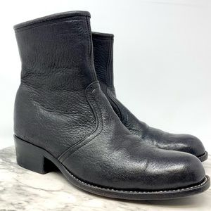 Pebbled Leather Unbranded black ankle boots 8-8.5